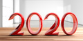 2020 New year, red digits, on wooden desk, blur empty room background. 3d illustration - PhotoDune Item for Sale