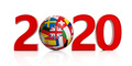 New year 2020 with flags soccer football ball isolated on white background. 3d illustration - PhotoDune Item for Sale