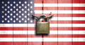 Government shutdown. US flag on wooden door closed with padlock. 3d illustration - PhotoDune Item for Sale