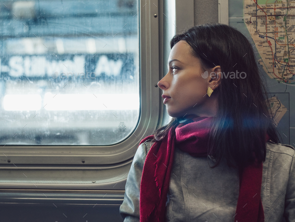 Attractive girl in subway - Stock Photo - Images