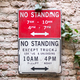 No Standing road sign on brick wall - PhotoDune Item for Sale