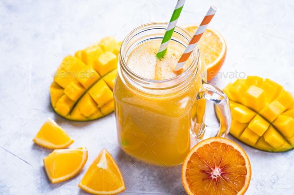 Mango orange juice smoothie - Stock Photo - Images