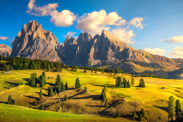 Alpe di Siusi or Seiser Alm and mountains, Dolomites Alps, Italy - Stock Photo - Images