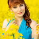 beautiful girl in blue dress with yellow flowers - PhotoDune Item for Sale