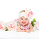 happy beautiful baby girl with flower on head - PhotoDune Item for Sale