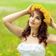 beautiful girl with dandelion flowers in green field - PhotoDune Item for Sale