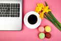 Woman or feminine workspace with notebook, coffee, macarons and flowers - PhotoDune Item for Sale