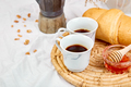 Good morning. Two cup of coffee with croissant and jam. - PhotoDune Item for Sale