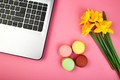 Woman or feminine workspace with notebook, macarons and flowers - PhotoDune Item for Sale