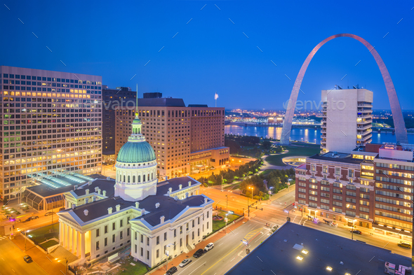 St. Louis, Missouri, USA downtown cityscape with the arch and co - Stock Photo - Images