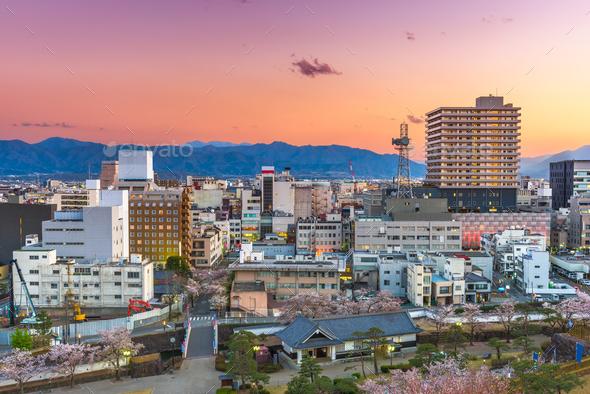 Kofu City, Japan Downtown Skyline at Dusk - Stock Photo - Images