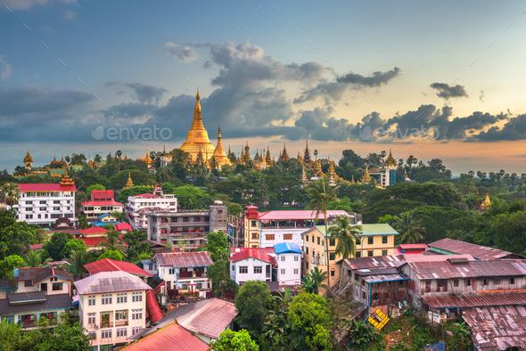 Yangon, Myanmar skyline with Shwedagon Pagoda - Stock Photo - Images