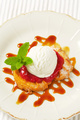 Spritz butter cookie with raspberry sauce and ice cream - PhotoDune Item for Sale
