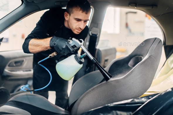 Professional dry cleaning of car seats - Stock Photo - Images