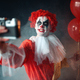 Scary bloody clown with crazy eyes makes selfie - PhotoDune Item for Sale