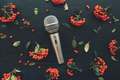 Microphone flat lay top view - PhotoDune Item for Sale