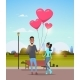 Man Giving Woman Pink Heart Shape Air Balloons - GraphicRiver Item for Sale