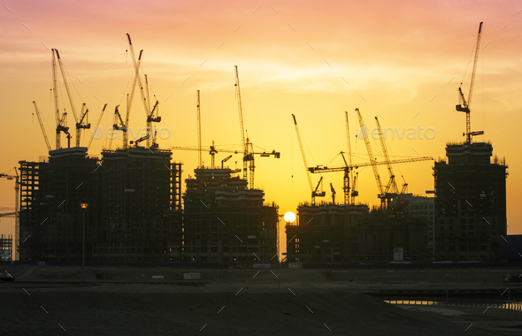 Construction Cranes in Dubai - Stock Photo - Images