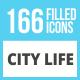 166 City Life Filled Low Poly Icons - GraphicRiver Item for Sale