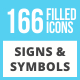 166 Signs & Symbols Filled Low Poly Icons