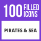 100 Pirate & Sea Filled Blue & Black Icons