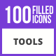 100 Tools Filled Blue & Black Icons
