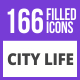 166 City Life Filled Blue & Black Icons - GraphicRiver Item for Sale