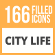 166 City Life Filled Round Icons