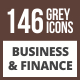 146 Business & Finance Flat Greyscale Icons