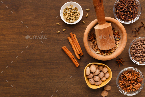 Mulled wine spices set mockup, top view - Stock Photo - Images