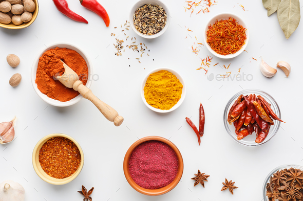 Hot spices concept, top view - Stock Photo - Images