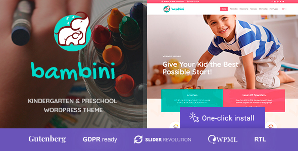 Bambini - Kindergarten & Pre-School Theme - Education WordPress