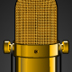 Background with Golden Microphone - GraphicRiver Item for Sale