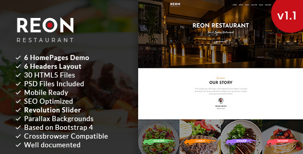 Reon | Restaurant HTML5 Template - Restaurants & Cafes Entertainment