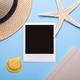 blank photo frame near traveler hat - PhotoDune Item for Sale