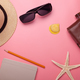 accessories on pink background, travel concept - PhotoDune Item for Sale