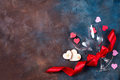 Composition with wine glasses, ribbon and decorative hearts on stone background with copy space - PhotoDune Item for Sale