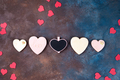 top view of glazed heart shaped cookies on stone with copy space, flat lay. Happy Valentines Day - PhotoDune Item for Sale