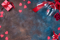 Valentines day background with handmaded hearts, glasses and gift box on a stone background - PhotoDune Item for Sale