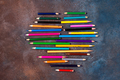 Crayon heart - Heart shape made of colored pencils on stone background. Valentine's day - PhotoDune Item for Sale