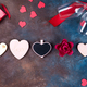 Valentines day background with handmaded hearts, glasses, cookies and gift box on a stone background - PhotoDune Item for Sale