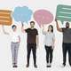 Diverse people holding speech bubble symbols - PhotoDune Item for Sale