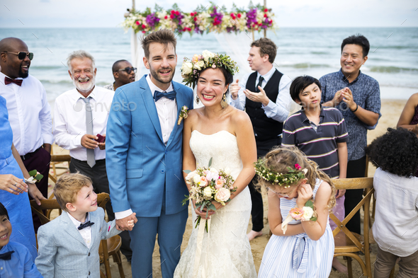 Young Caucasian couple's wedding day - Stock Photo - Images