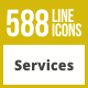 588 Services Line Inverted Icons - GraphicRiver Item for Sale