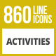 860 Activities Line Inverted Icons - GraphicRiver Item for Sale
