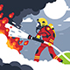 Flat Fire Fighting Man Puts Out Fire - GraphicRiver Item for Sale