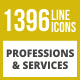 1396 Professions & Services Line Inverted Icons - GraphicRiver Item for Sale