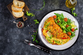 Breakfast. Omelette with tomatoes, avocado, blue cheese and green peas - PhotoDune Item for Sale