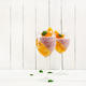 Delicious dessert Panna Cotta with raspberry coulis and tangerine jelly with champagne  - PhotoDune Item for Sale