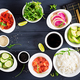 Ingredients for cooking Hawaiian salmon fish poke bowl  - PhotoDune Item for Sale